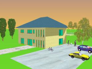 Haus Nahe / Bauweise: Schalungssteine