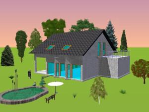 Haus Nied / Bauweise: Schalungssteine